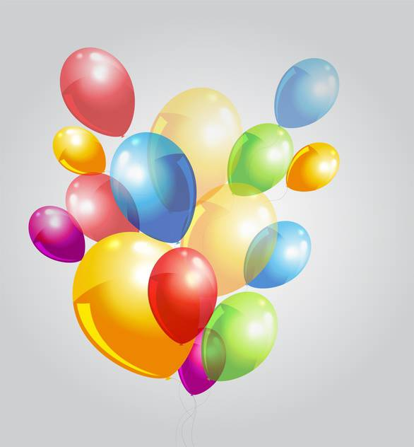 Vector illustration of grey background with colorful balloons - Free vector #125958