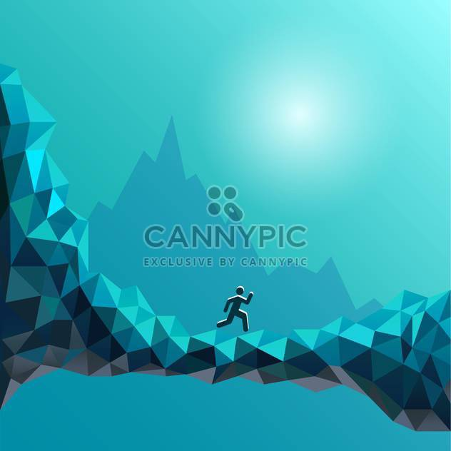 Vector illustration of running man sign on abstract blue background - Free vector #125998