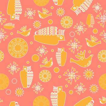 Vector colorful ornamental folk background with yellow owls - Free vector #126098