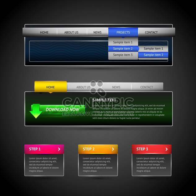 Vector illustration of modern web elements on dark background - Free vector #126168