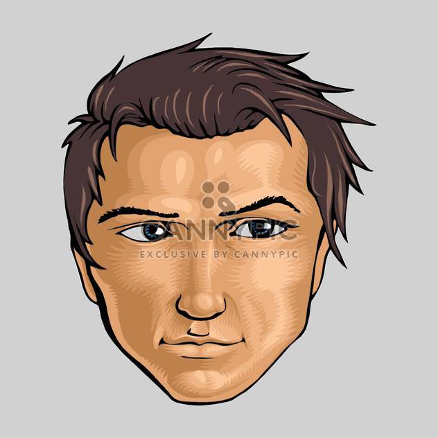 Vector illustration of face of young man on white background - Free vector #126218