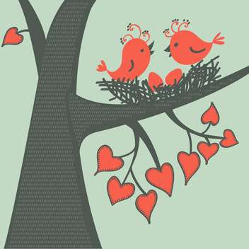 Vector illustration of birds sitting on branch with heart shape leaves in love - бесплатный vector #126328