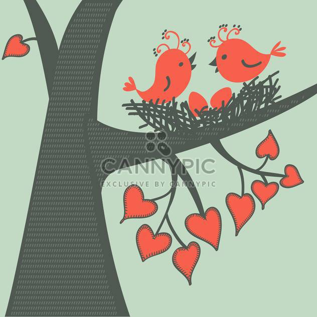 Vector illustration of birds sitting on branch with heart shape leaves in love - Free vector #126328