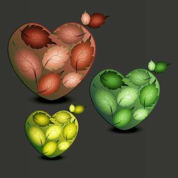 Vector illustration of three colorful hearts made of leaves on dark background - бесплатный vector #126358