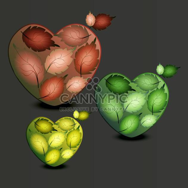 Vector illustration of three colorful hearts made of leaves on dark background - Free vector #126358