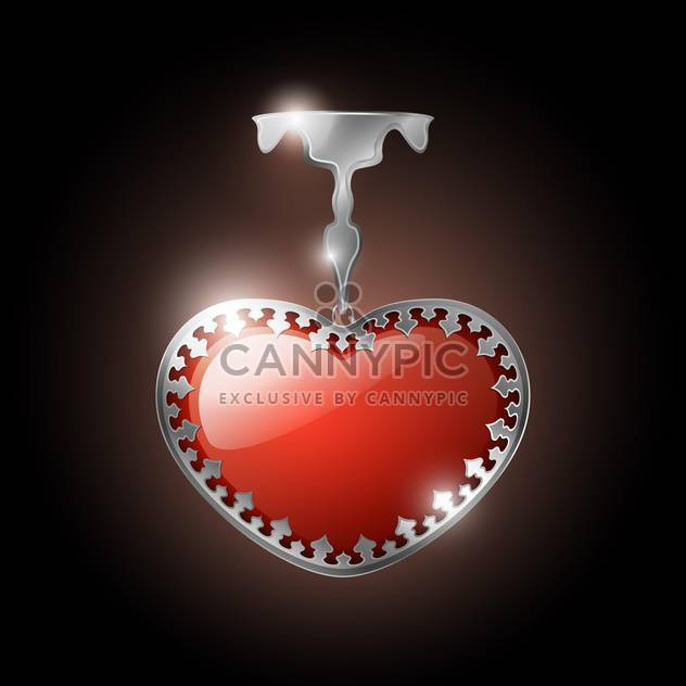 Vector illustration of heart shape jewel on dark background - Free vector #126378