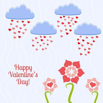 Vector card for holiday background heart shape flowers - vector #126458 gratis