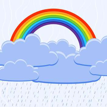Vector illustration of colorful rainbow with clouds - vector gratuit #126488