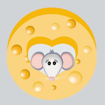 Vector illustration of cartoon mouse with yellow cheese - vector gratuit #126498