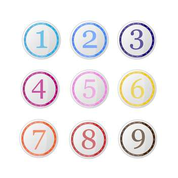 Vector set of round icons with colorful numbers on white background - vector #126518 gratis