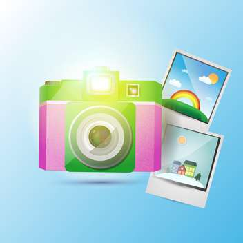 Vector illustration of photo camera with colorful pictures - Free vector #126528