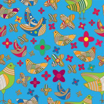 Vector colorful background with drawing birds and flowers - Free vector #126568