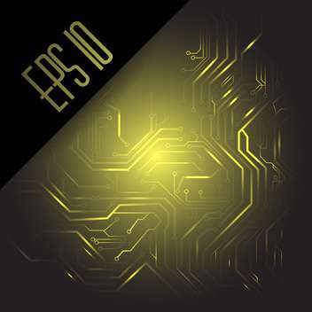 Vector illustration of yellow color computer circuit board on dark background - Free vector #126588