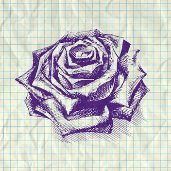 Sketch illustration of rose on notebook paper - vector gratuit #126618