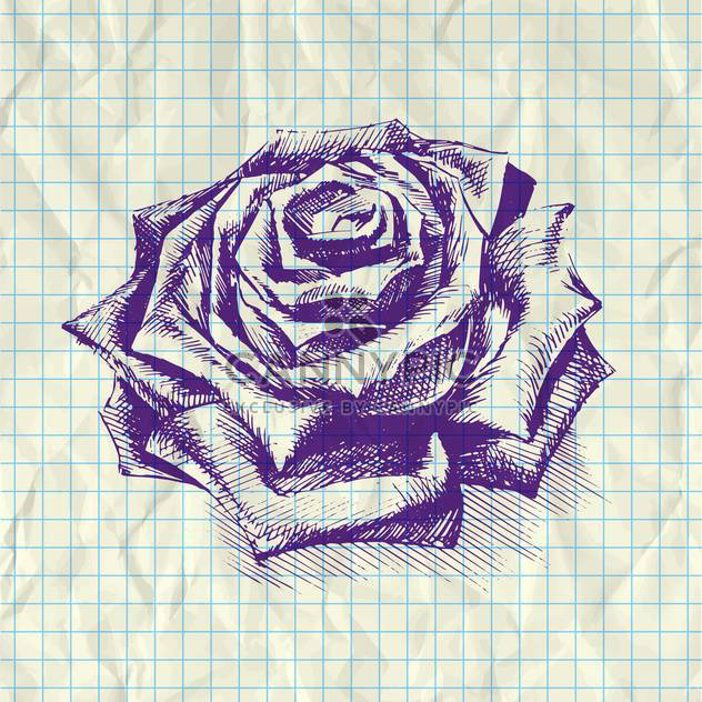 Sketch illustration of rose on notebook paper - Free vector #126618