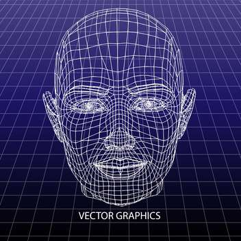 vector model of human face on blue background - бесплатный vector #126658