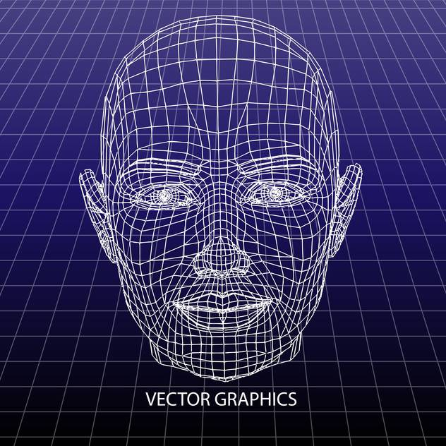 vector model of human face on blue background - vector #126658 gratis