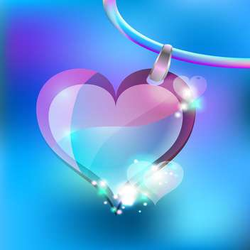 Vector illustration of jewelry heart on blue background - Free vector #126738