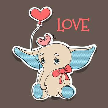 vector illustration of elephant in love with balloon for valentine card - vector gratuit #126758