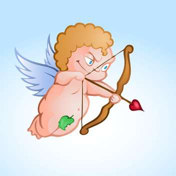 Vector illustration of angel cupid shooting love arrow - Free vector #126858