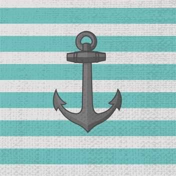Vector illustration of grey anchor on striped background - Free vector #126888