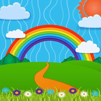 Vector background with colorful bright rainbow - Free vector #126908