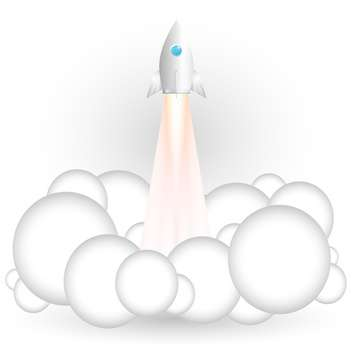 Vector illustration of flying rocket on white background - vector gratuit #126968
