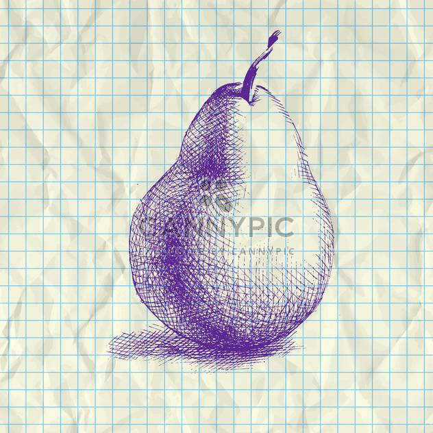 Sketch illustration of drawing pear on notebook paper - Free vector #126998