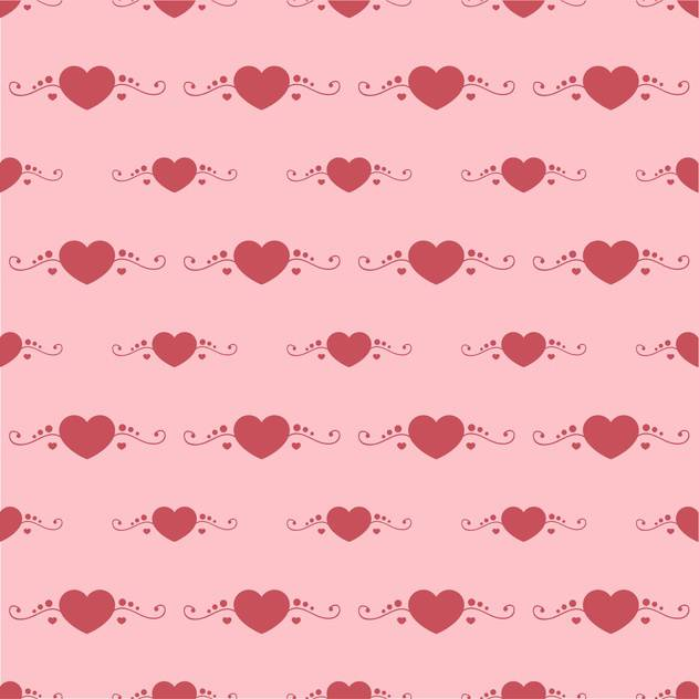Vector background with red hearts on pink background - vector gratuit #127018