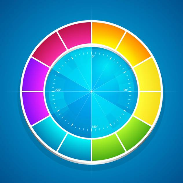 Vector Illustration Of Color Wheel On Blue Background Free Vector