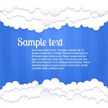Vector blue background with white clouds and text place - vector gratuit #127108