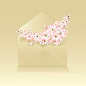 Spring beautiful flowers in envelope on beige background - vector gratuit #127118