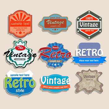 Vector set of colorful vintage labels on pink background - vector #127128 gratis