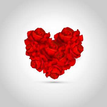 Heart made of red roses on white background - vector gratuit #127168