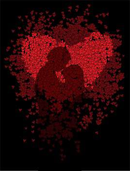 red hearts with couple silhouette on black background - vector #127228 gratis