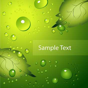 water drops on green background with text place - vector gratuit #127258