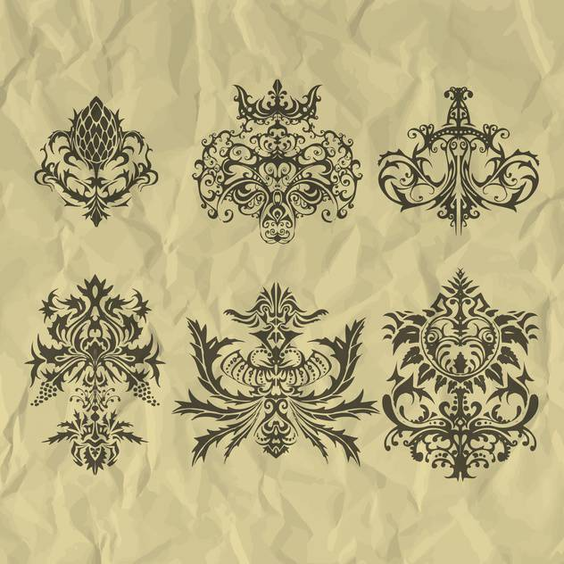 Vector vintage elements on crumpled paper - vector gratuit #127268