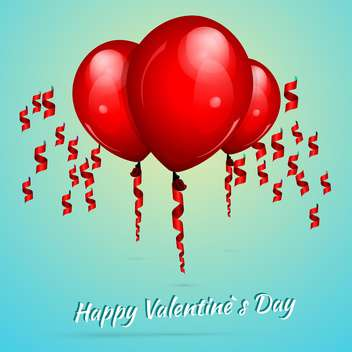 Valentine's background with red balloons for valentine card - vector gratuit #127288