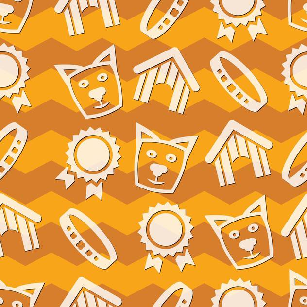vector collection of pet care icons on orange background - vector gratuit #127298