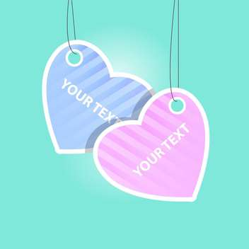 Vector heart labels on blue background with text place - vector gratuit #127318
