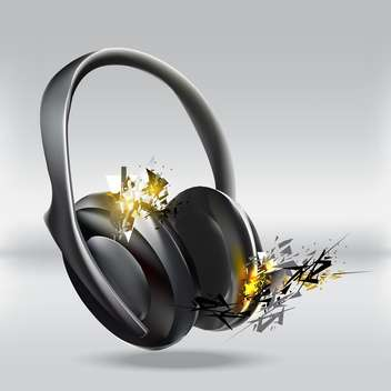 Vector illustration of abstract headphones on grey background - vector gratuit #127328