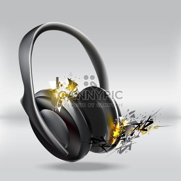 Vector illustration of abstract headphones on grey background - Free vector #127328
