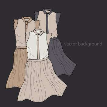 Vector dark background with female dresses - vector gratuit #127358