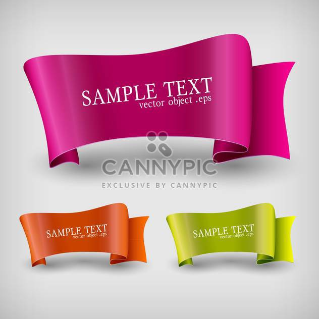 Vector set of ribbon labels on grey background with text place - Free vector #127388