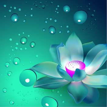 Vector flowers with bubbles on blue background - бесплатный vector #127418