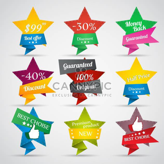 vector collection of sale stars on grey background - Free vector #127448