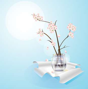 Flowers in vase on blue background - vector gratuit #127468