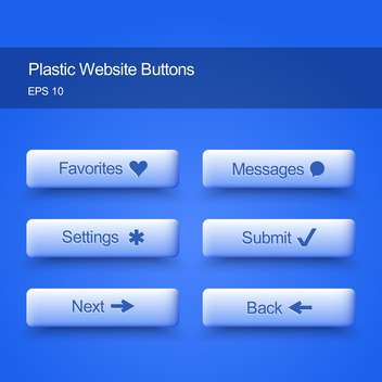 Plastic website buttons on blue background - vector gratuit #127488