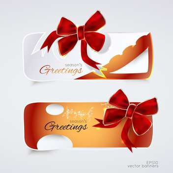 greeting banners with red bows for holiday background - vector gratuit #127538