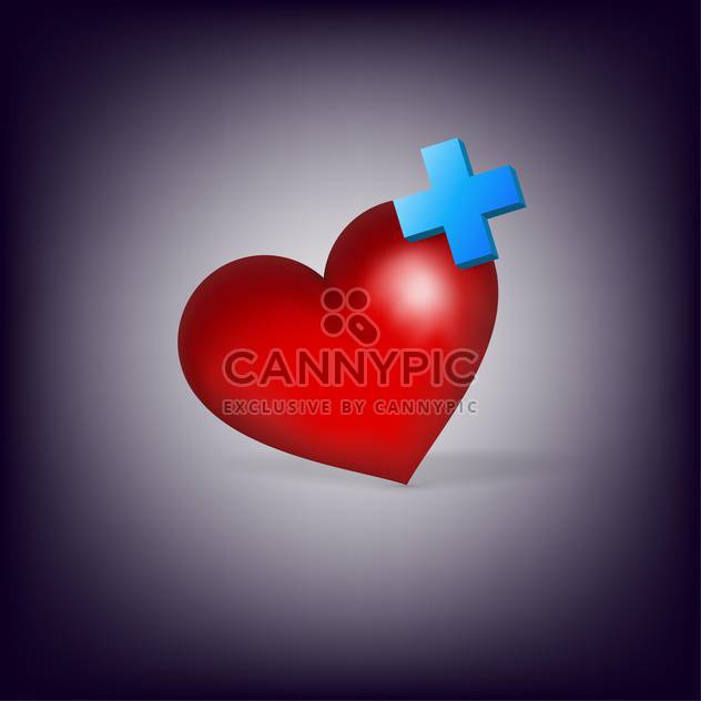red heart with cross on purple background - Free vector #127598